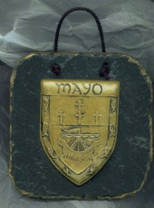 Mayo County Crest slate wall plaque.